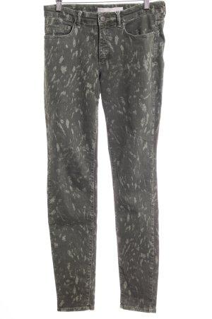 Yaya Skinny Jeans hellgrün-dunkelgrün abstraktes Muster Casual-Look