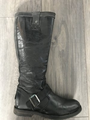 Yellow cab Biker Boots black leather