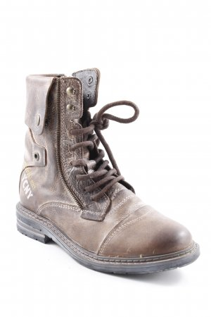 Yellow cab Lace-up Boots grey brown casual look