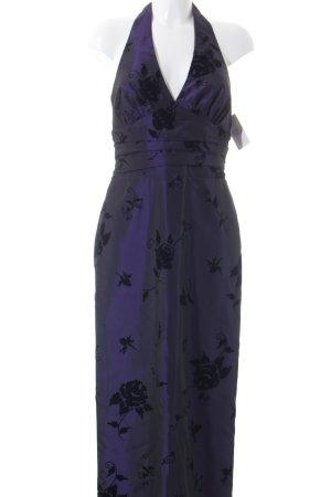 Yessadress Abendkleid dunkelviolett-schwarz florales Muster Elegant
