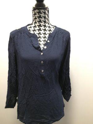 Yessica Bluse dunkelblau mit aufstrickbaren Ärmeln, Gr. 48 wie Neu