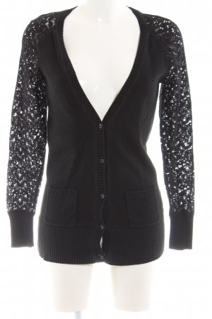 Yessica Cardigan schwarz grafisches Muster Business-Look