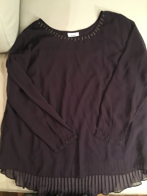 YESSICA festliche Bluse mit Stickerei am Ausschnitt, Gr. 44/46 plissiert, wie NEU