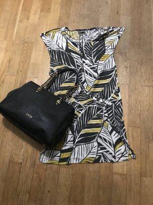 Yessica Kleid Baumwolle Blattmuster schwarz-gelb-weiß