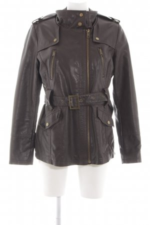 Yessica Faux Leather Jacket brown casual look