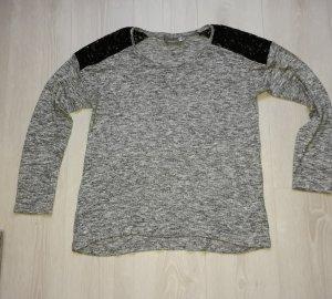Yessica: Langarmpullover Größe M schwarz/grau melliert ...feinstrick