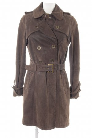 Yessica Leather Coat brown extravagant style