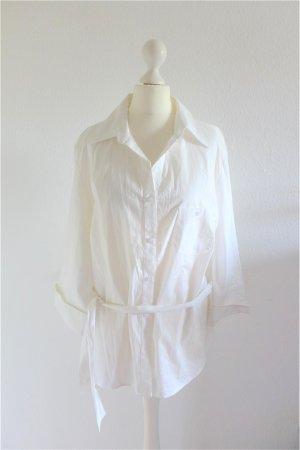 Yessica Long Hemd Bluse Langarm Bindeband weiß Gr. 48 XL top