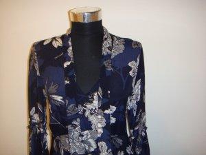 Yessica Maxi Kleid lang blau weiß schwarz Blumen Schluppe Gr.36