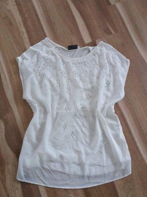 Yessica Shirt T-Shirt Top Oberteilt Cut Outs weiß Gr. M L 40 42 40/42 sehr gut