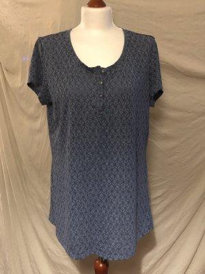 Yessica T-Shirt blau L zweifarbig Muster Knöpfe luftig