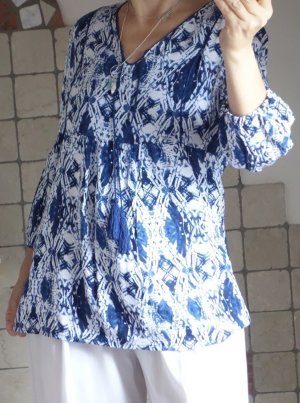 Yest Tuniekblouse wit-blauw Viscose
