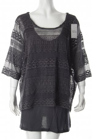 Yest Häkelshirt anthrazit florales Muster Casual-Look