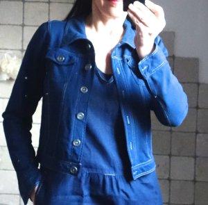 YEST Jersey Jacke dunkelblau, weiße Steppnähte, sportlich im Jeansjacken Stil, sehr bequem, dehnbar, hoher Elasthane Anteil, neu, ungetragen, Gr. S/M