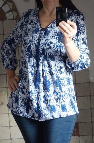 Yest Tunika, dunkelblau, weiß gemustert, V-Ausschnitt mit Kordel, Unterbrustnaht, A-Linie, 100% Viskose