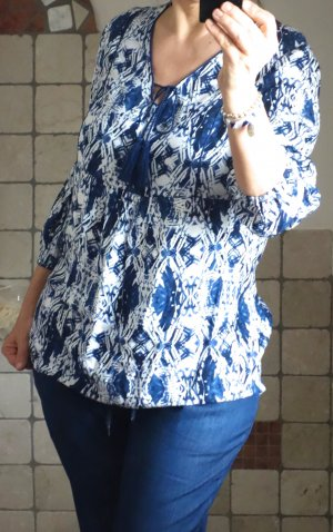Yest Tuniekblouse blauw-wit Viscose