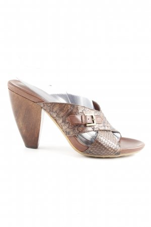 YIN Heel Pantolettes brown-light brown animal pattern '90s style