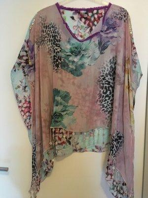 Kimono blouse roségoud-lichtblauw
