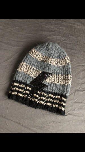Bonnet en crochet gris-noir