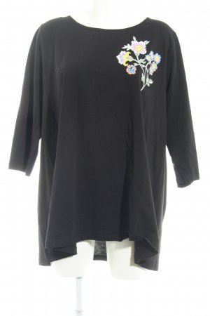 Yoek Langarm-Bluse schwarz Blumenmuster Casual-Look