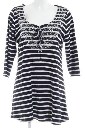Yoek Longshirt weiß-dunkelblau Streifenmuster Casual-Look