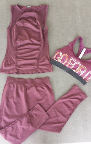 Yoga Dance Zumba Sportoutfit Hose Top BH Weinrot Size M