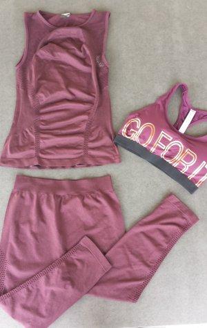 Yoga Dance Zumba Urban Sportoutfit Hose Top BH Weinrot Size M