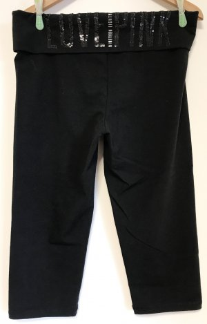 Pink Victoria's Secret Pantalon de sport noir-argenté coton