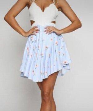 Yoins Sommerkleid weiß hellblau mit cut outs S