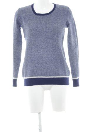 Yorn Pullover in cashmere bianco-blu scuro puntinato stile casual