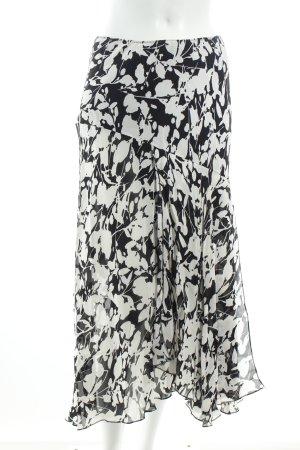 Yorn Maxirock weiß-schwarz florales Muster Eleganz-Look