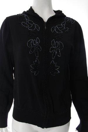 Yorn Sweatjacke schwarz florales Muster schlichter Stil