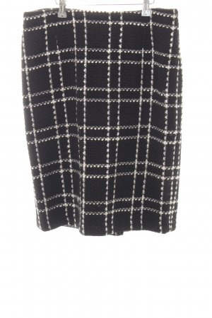 Yorn Tweed Skirt black-natural white check pattern business style