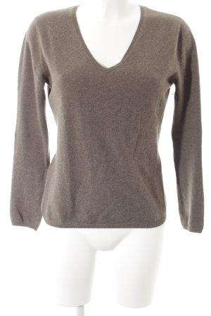Yorn V-Ausschnitt-Pullover graubraun Casual-Look