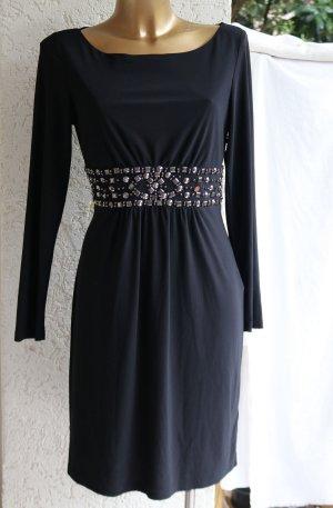 Young couture Barbara Schwarzer Stretch-Kleid 40 schwarz Nieten Perlen