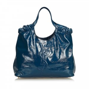 048318bca1 Yves Saint Laurent Borsa larga blu Finta pelle