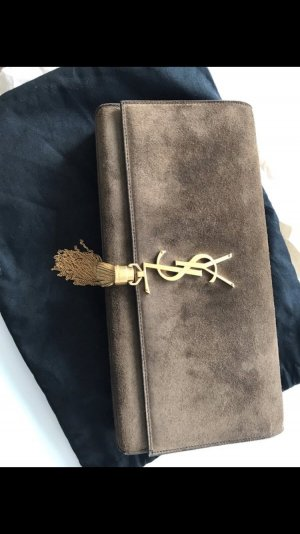 YSL Clutch Wildleder Tasche Yves Saint Laurent Cognac