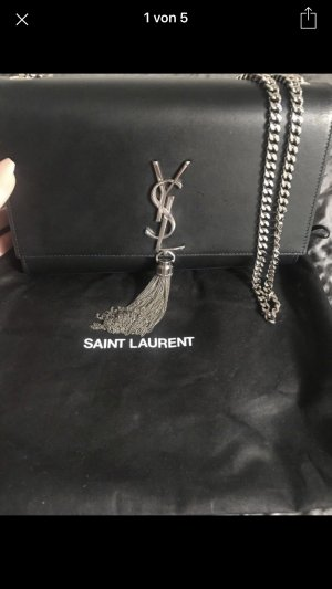 Saint Laurent Bolso estilo universitario negro-color plata