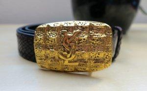 YSL Goldschnalle leder Gurtel, 80 cm