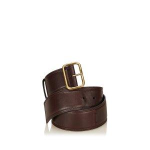 Yves Saint Laurent Ceinture brun foncé cuir