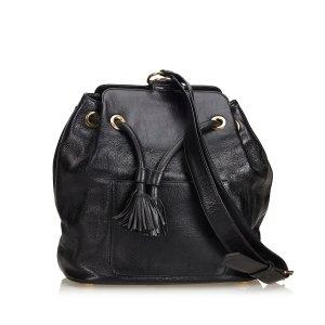 YSL Leather Drawstring Bucket Bag