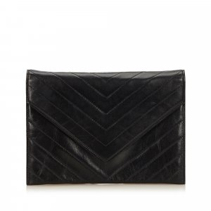 YSL Leather V Stitch Clutch