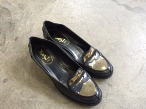 Yves Saint Laurent Scarpa slip-on nero-oro Pelle
