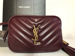 Yves Saint Laurent Banane bordeau-doré cuir