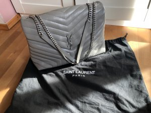 Yves Saint Laurent College Bag silver-colored leather