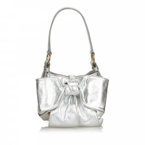 YSL Metallic Leather Sac Bow Handbag
