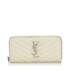 Yves Saint Laurent Wallet white leather