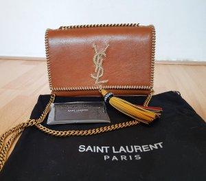 YSL Small KATE Gold Tassel Chain Bag stitched Tasche Leder Braun mit Rechnung NP: 1600 Euro