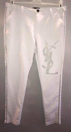 Pantalone di lino bianco-argento