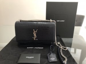 YSL Sunset Medium Crocodile Embossed Blau